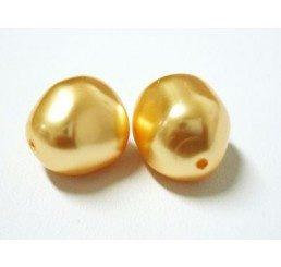 swarovski - perla irregolare mm. 14 gold