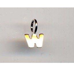 pendente letterina w mm. 10 - ag 925 - conf 1 pz