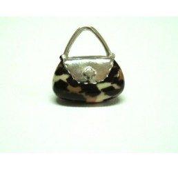 pendente forma borsetta  - argento smaltato - conf 1 pz