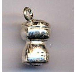 pendente a forma di tappo di champagne argento dorato