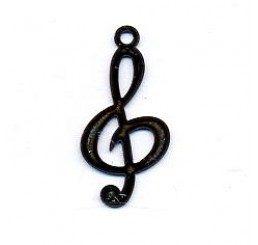 pendente a forma di chiave di violino mm. 22 - dorato