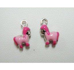 pendente pony - argento smaltato - conf 1 pz