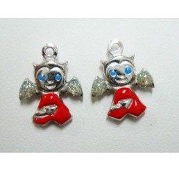 pendente diavoletto - argento smaltato - conf 1 pz