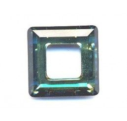 swarovski - square ring mm. 14 crystal bermuda blu